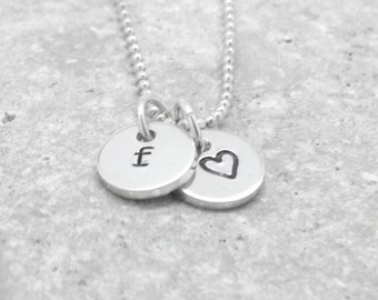 Initial Necklace, Tiny Letter f Necklace, Sterling Silver Jewelry, Heart Necklace, Charm Necklace, Initial Jewelry, All Letters Avail, f