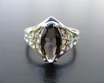 S248 Made to Order... Sterling Silver Antique Style Filgree Ring with 3 Carat Natural Smoky Topaz Gemstone