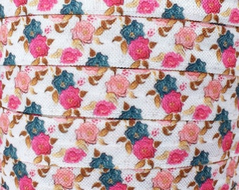 """Pink, Navy Blue and Coral Floral 5/8"""" Fold Over Elastic 1, 3 or 5 yards"""