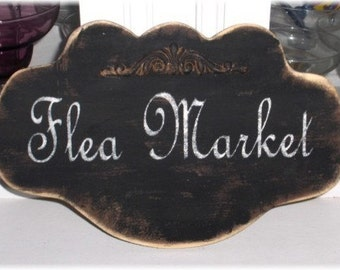Flea Market Shabby Cottage Black Large Wood Sign Custom
