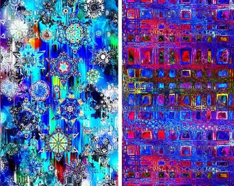 Artist Made Quilting Fabric By The Yard 2 Large Panels Royal Blue Stars Sky Celestial Kaleidoscope