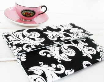 Kindle Case, Padded Kindle Paperwhite Cover, Nook Cover, Ereader Case, Kindle Sleeve in Black and White Damask made to FIT ANY BRAND reader