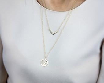 SUMMER SALE - Vegan necklace,vegan symbol,vegan jewelry,vegan fashion,V necklace,layered necklace,gold necklace