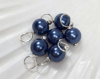 Dangle charms, 6mm Dark Blue, glass pearl dangle beads, pearl dangle charms, blue dangle beads, bead charms, bracelet charms, pearl charms