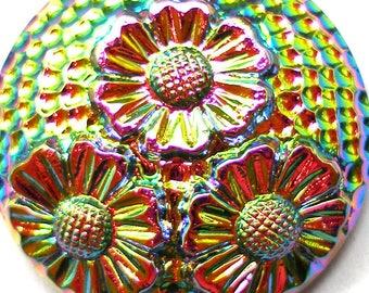 Czech glass BUTTON, Iridescent vitrail flowers, 1 inch, 27mm.