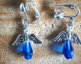 Angel earrings, silver clip on with royal blue beads.
