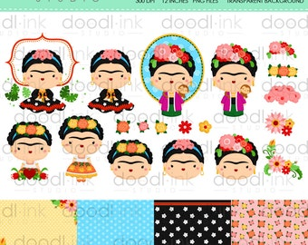 SALE 50%!!! Frida Kahlo Clipart / mexican Painter Cute Cartoon Clip Art/Digital Paper For Personal Use/INSTANT DOWNLOAD