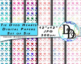 Watercolour Hearts Digital Papers Printable Scrapbook Tie Dyed Valentine's Day Commercial Use Graphic Clip Art Instant Download File PS0006