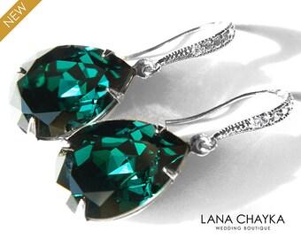 Emerald Crystal Earrings Swarovski Emerald Rhinestone Wedding Earrings Green Teardrop Dangle Earring Prom Emerald Jewelry Bridesmaid jewelry