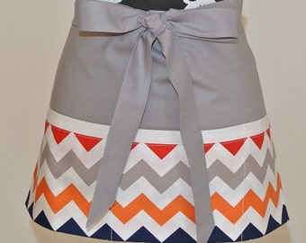Multi Color Chevron trimmed in Gray Craft, Vendor, Garden, Cooking, Server, etc. Apron