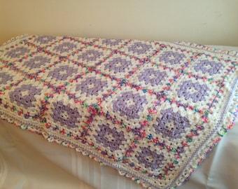 Handmade Crocheted Baby Blanket, Shower Gift, Heirloom Quality, Baby Girl Bedding, Baby Shower, Pink Blanket, Baby Girl, Purple Blanket