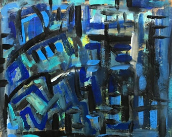 16x20 Blue Abstract Painting on Brown Paper