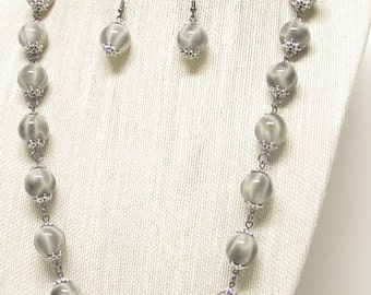 "45"" Shades Of Gray Necklace w/Gunmetal Chain #19822"