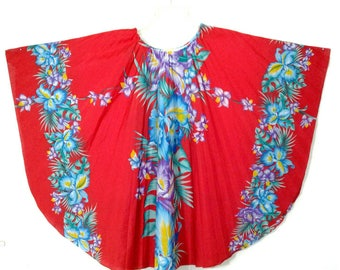 Vtg 70s Hawaiian Floral  Butterfly Sleeve Tunic Top Swim Cover, OS