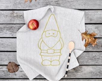 Hand printed Linen Tea Towel, Garden Gnome, Gold Ink on 18 x 24 Natural Linen