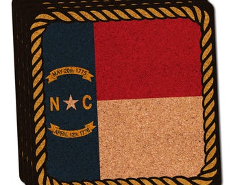 North Carolina State Flag Thin Cork Coaster Set Of 4