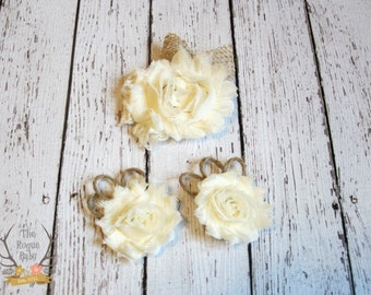 Rustic Wedding Hair Clip with Matching Shoe Clips Set - Burlap Lace & Chiffon - Alligator Clip - Wedding  Ivory cream