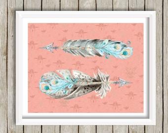 Boho Tribal Nursery Printable, Feathers Printable, Feathers Wall Art, Arrow Print, Baby Girl Nursery, Coral Teal Decor, Tribal Wall Art