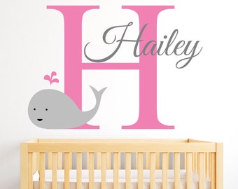Name Wall Decal - Whale Wall Decal - Nautical Baby Girl Room Decor - Girl Name Wall Decal - Nursery Wall Decals Vinyl