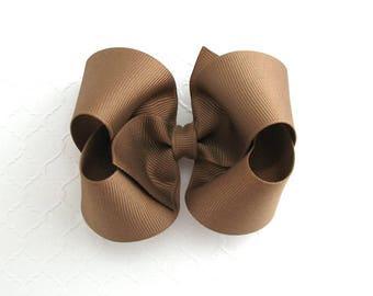 Taupe / Dark Khaki Brown Hair Bow, Matches School Uniform, Baby / Toddler Hair Bow, Medium and Large Basic Bows, Thanksgiving Girls Hair Bow