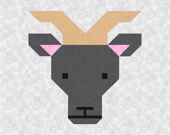 Goat Quilt BLOCK Pattern, PDF, Instant Download, modern patchwork, animal, cute, farm
