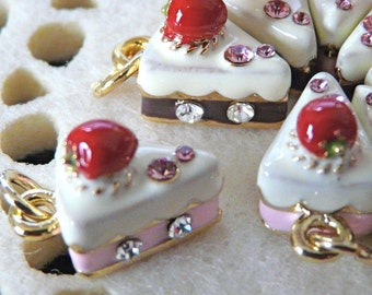 NICKEL FREE goldplated, Strawberry Cake, 1 pc
