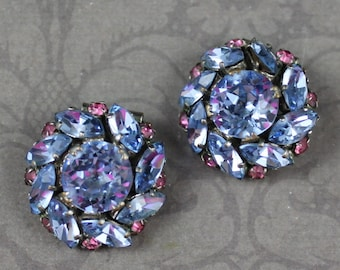 Vintage Baby Blue and Rose Pink Round Rhinestone Shoe Clips