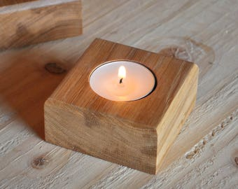 Handmade Oak Tealight Holders - Candle Holders - Wooden Votive Holders - Tealight Holder Wood - Table Centrepiece - Decoration