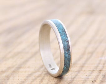 Mens Ring, Women Band, Silver Wedding Ring with Turquoise inlay