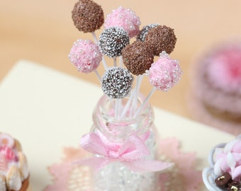 Pink and Chocolate Cake Pops - Miniature Food in 12th Scale for Dollhouse