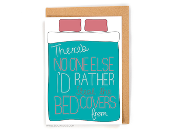 Valentines day card - Anniversary card - Birthday card - funny steal bed covers boyfriend card for him love I love you blanket stealer