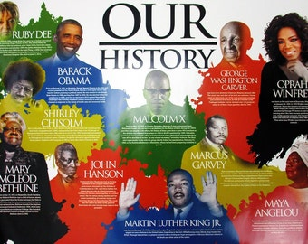 Our Black History Poster African American Famous Black People Biography (18x24)