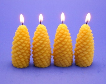 Set of 4 Pinecone Beeswax Candles, Beeswax Votives, Pure Beeswax Candles, Gifts for Her, Home Decor Candles, Pine Cone Votive Candles