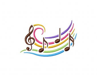 Rainbow musical notes music embroidery design