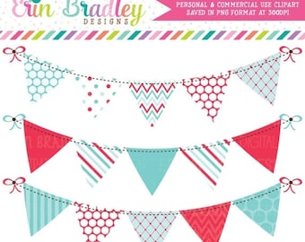 80% OFF SALE Blue & Red Clipart Bunting Graphics Commercial Use Digital Banner Flag Clip Art Polka Dots Chevron and Striped Patterns