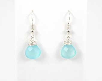 Wire Wrapped Aqua Teardrop Earrings