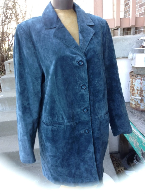 Vintage hipster 80's Together! army green duster coat with leather trim size large free domestic shipping vEvb0vhJe