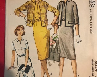 Vintage 50s McCall's 5029 Vintage Dress and Jacket Pattern-Size 14 (34-26-36)