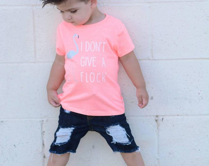 Kids Flamingo tee - I don't give a flock T-shirt - Infant shirt, Toddler Shirt, Kid Shirt, Todder Tee, Infant Tee, Kids Tee, baby Tee