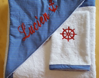 Hooded towel personalized sailor