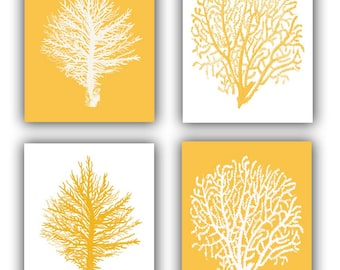 Gold Sea Coral fan prints, modern vintage inspired  by coral, gorgonian. nautical print, beach cottage decor, Golden 8x10 prints, set of 4