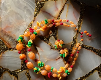 Vintage Fruit Salad Necklace Earring Set Plastic Beads