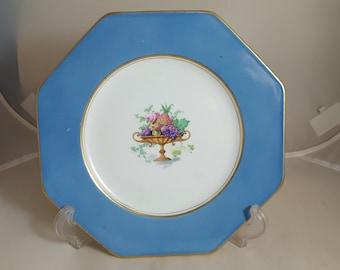 Wedgwood Imperial Porcelain Handled Fruit Bowl Plate Blue 1900s