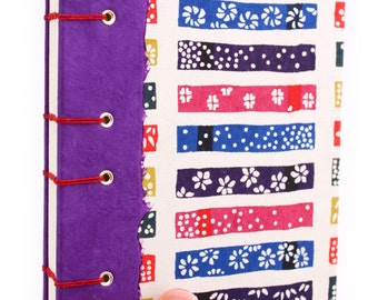 Lay Flat Journal - Unlined Journal - Purple, Red and Blue Squares - Japanese Katazome Paper - 160 Pages - handmade by Ruth Bleakley