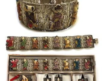 Chinese Immortals Silver Filigree Wedding Jewelry SET - Bracelet Brooch Earrings Ring in Original Box