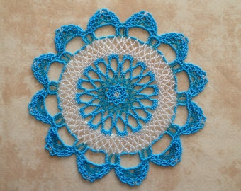Doily blue and clear seed beads
