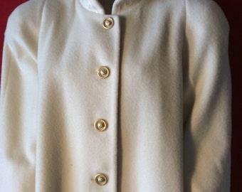 Vintage /80's / 2XL/Cream/Wool/Women's /Winter Coat.