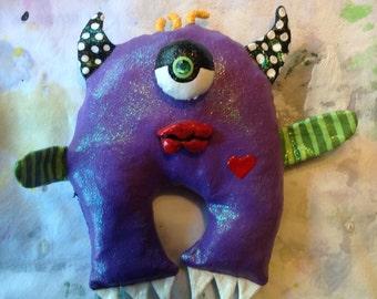 Purple One Eye Monster Wall Doll