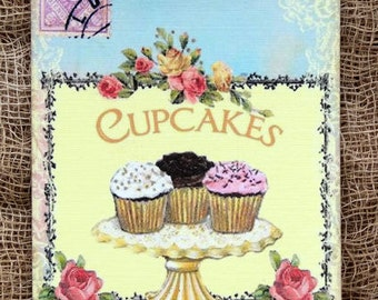 Cupcake Trio Postcard Gift or Scrapbook Tags or Magnet #266