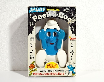 Vintage Smurf Music Box- 1983 Peek-A-Boo Smurf Toy in Original Box, Moving Musical Wind Up Toy